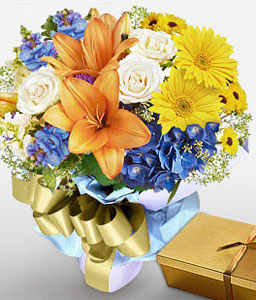 Dreamy Shades-Blue,Mixed,Orange,White,Yellow,Chocolate,Daisy,Gerbera,Iris,Lily,Mixed Flower,Bouquet