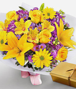 Bright Hues-Mixed,Purple,Yellow,Chocolate,Daisy,Hydrangea,Lily,Mixed Flower,Rose,Bouquet