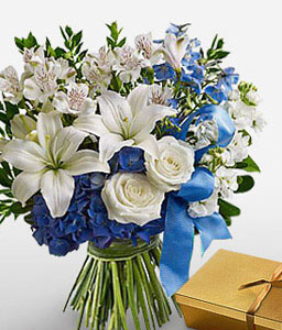 Cool Splash-Blue,Mixed,White,Chocolate,Mixed Flower,Orchid,Rose,Bouquet