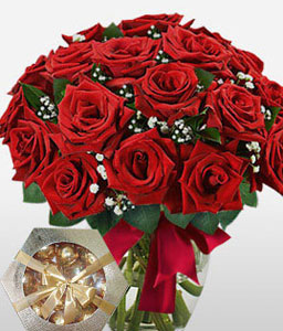Ruby Blanc - 18 Red Roses-Red,Chocolate,Rose,Bouquet