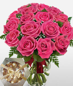 Dreamland - 18 Pink Roses-Red,Chocolate,Rose,Bouquet