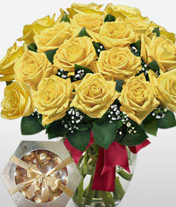 Yellowside - 18 Yellow Roses-Yellow,Chocolate,Rose,Bouquet