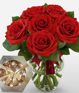 Rage - 6 Red Roses-Red,Chocolate,Rose,Bouquet