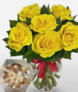 Sunshine - 6 Yellow Roses-Yellow,Chocolate,Rose,Bouquet