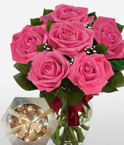 Blushing Secret- 6 Pink Roses Free Chocolates-Pink,Chocolate,Rose,Bouquet
