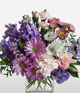 Perse Delight-Mixed,Pink,Purple,White,Alstroemeria,Carnation,Chrysanthemum,Mixed Flower,Arrangement