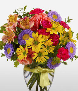 Season Wonder-Mixed,Purple,Red,Yellow,Carnation,Chrysanthemum,Mixed Flower,Arrangement