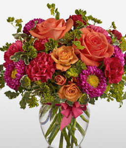 Roseate-Mixed,Pink,Red,Carnation,Mixed Flower,Rose,Arrangement