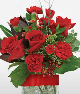 Valentines Flowers-Red,Carnation,Rose,Arrangement