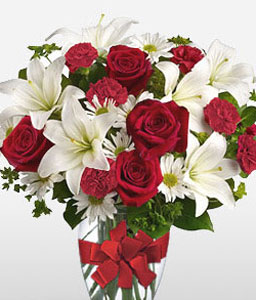 Dawning Glory-Mixed,Red,White,Lily,Rose,Arrangement