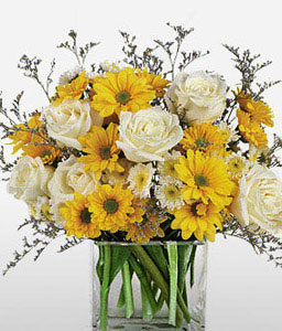 Sunrise Blooms-White,Yellow,Rose,Daisy,Arrangement