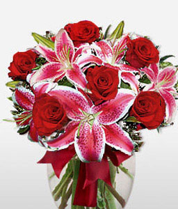 Stargazer Rose Duet-Pink,Red,Lily,Rose,Arrangement