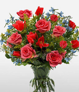 Valentines Gift-Blue,Mixed,Pink,Red,Mixed Flower,Rose,Arrangement