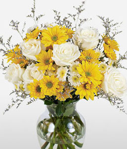 Sunshine Fields-White,Yellow,Daisy,Gerbera,Rose,Arrangement