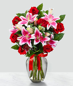 Valentines Arrangement <Br><Font Color=Red>Red Roses and Pink Lilies</Font>