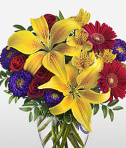 Dazzling Blossoms-Mixed,Purple,Red,Yellow,Alstroemeria,Gerbera,Lily,Mixed Flower,Rose,Arrangement