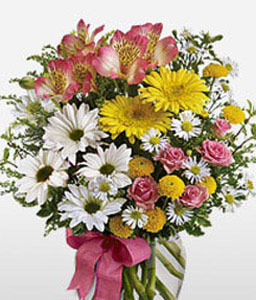 Fusion Merriment-Mixed,Pink,White,Yellow,Mixed Flower,Lily,Chrysanthemum,Carnation,Arrangement