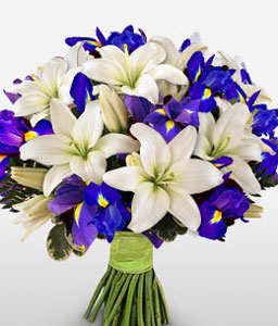 Wild At Heart-Blue,White,Iris,Lily,Bouquet