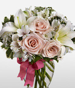 Floral Hues-Mixed,Peach,Pink,White,Rose,Mixed Flower,Lily,Alstroemeria,Arrangement