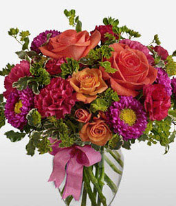 Eternal Promise - Mixed Flowers In Vase-Mixed,Orange,Pink,Red,Rose,Carnation,Arrangement