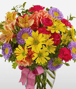 Summer Blossoms-Mixed,Orange,Purple,Red,Yellow,Alstroemeria,Carnation,Chrysanthemum,Mixed Flower,Arrangement
