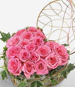 Dozen Pink Roses-Pink,Rose,Arrangement