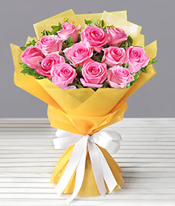 One Dozen Gift Wrapped Roses-Pink,Rose,Bouquet