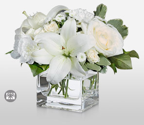 Pristine-White,Carnation,Chrysanthemum,Lily,Mixed Flower,Rose,Arrangement