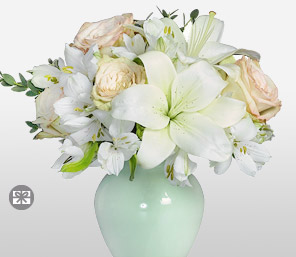 Silver Bells-Green,White,Carnation,Lily,Rose,Arrangement