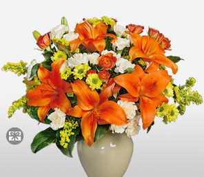 Sunny Side Up-Mixed,Orange,White,Yellow,Mixed Flower,Lily,Gerbera,Daisy,Carnation,Rose,Arrangement