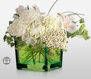 Sheer Elegance-White,Alstroemeria,Hydrangea,Mixed Flower,Rose,Arrangement