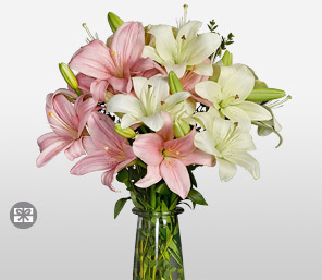 Classic Expressions Designer Free Vase-Pink,White,Lily,Arrangement