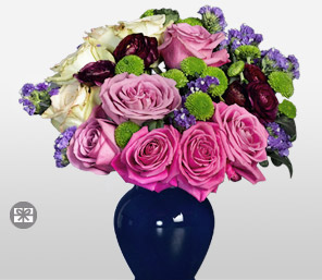 Lilac Grace - Mixed Flowers in Vase-Green,Mixed,Pink,Purple,Carnation,Mixed Flower,Rose,Arrangement