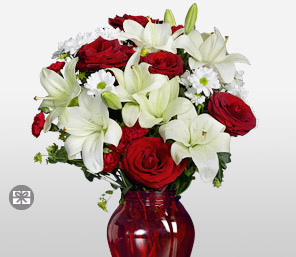 Festive Felicity-Red,White,Carnation,Chrysanthemum,Lily,Mixed Flower,Rose,Arrangement