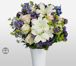 Rapturous Hues-Blue,Green,Mixed,Purple,White,Mixed Flower,Lily,Carnation,Alstroemeria,Arrangement