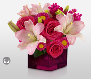 Lady Of The Mansion-Pink,Lily,Mixed Flower,Rose,Arrangement