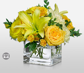 Gilded-White,Yellow,Carnation,Lily,Mixed Flower,Rose,Arrangement