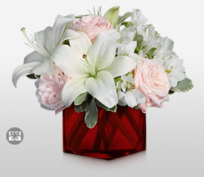 Saccharine Sophistication-Pink,White,Alstroemeria,Lily,Rose,Arrangement