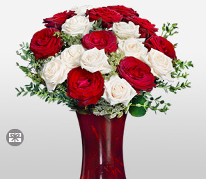 Sylvan Splendor-Red,White,Rose,Arrangement