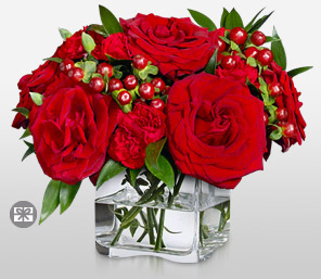 Scarlet Passion-Red,Carnation,Rose,Arrangement