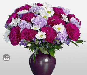 Regal Stature-Lavender,Mixed,Purple,Red,Violet,White,Carnation,Daisy,Gerbera,Arrangement