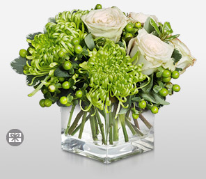 Neon Nights-Green,White,Chrysanthemum,Rose,Arrangement