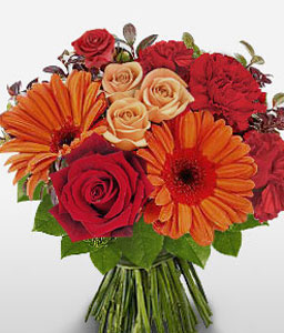 Myriad Majesty-Mixed,Orange,Peach,Red,Carnation,Daisy,Gerbera,Mixed Flower,Rose,Bouquet