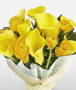 Golden Touch - Roses & Calla Lilies-Yellow,Lily,Rose,Bouquet