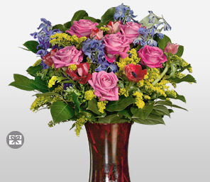 Five Minutes Of Fame-Blue,Mixed,Pink,Yellow,Mixed Flower,Rose,Arrangement