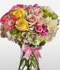 Rainbow Sorbet-Mixed,Peach,Pink,White,Yellow,Carnation,Chrysanthemum,Daisy,Gerbera,Hydrangea,Mixed Flower,Rose,Arrangement