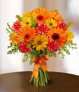 Rays Of Sunset-Orange,Yellow,Carnation,Chrysanthemum,Gerbera,Bouquet