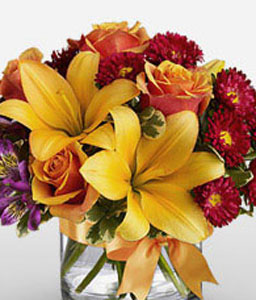 Rainbow Rain-Mixed,Orange,Purple,Red,Yellow,Alstroemeria,Lily,Mixed Flower,Rose,Arrangement
