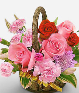 In Full Bloom-Pink,Red,Carnation,Rose,Arrangement,Basket