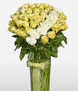Ravishing-White,Yellow,Carnation,Rose,Arrangement